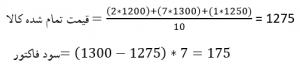فرمول محاسبه قیمت تمام شده با روش میانگین موزون