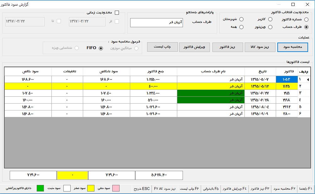 محاسبه سود فاکتور در نرم افزار حسابداری پخش مویرگی زرین